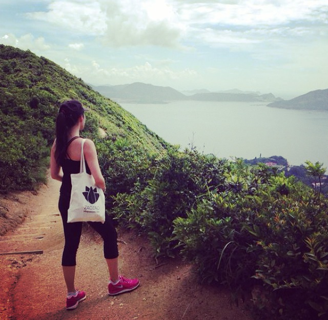 Moment of rest on the Dragon's Back Trail, Hong Kong.